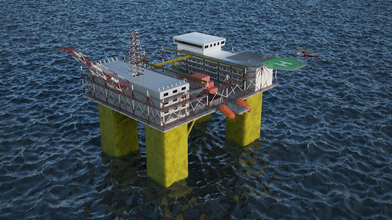 Drilling Offshore Platform Engineering 3D Rendering
